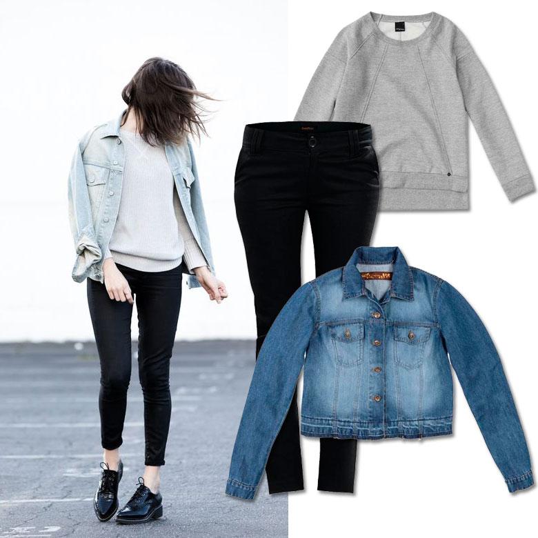 1 Blusão Feminino Moletom Cinza Malwee  2 Calça Skinny Preta Cintura Média   3 Jaqueta Jeans Marmorizado e8824647438