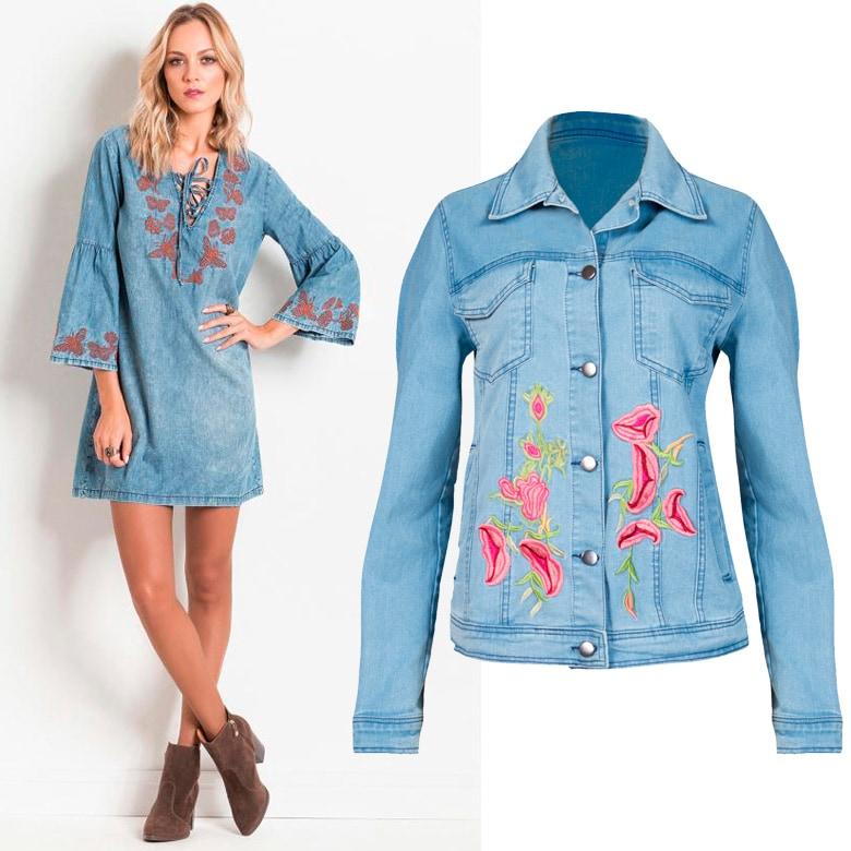 Vestidos de jeans bordados