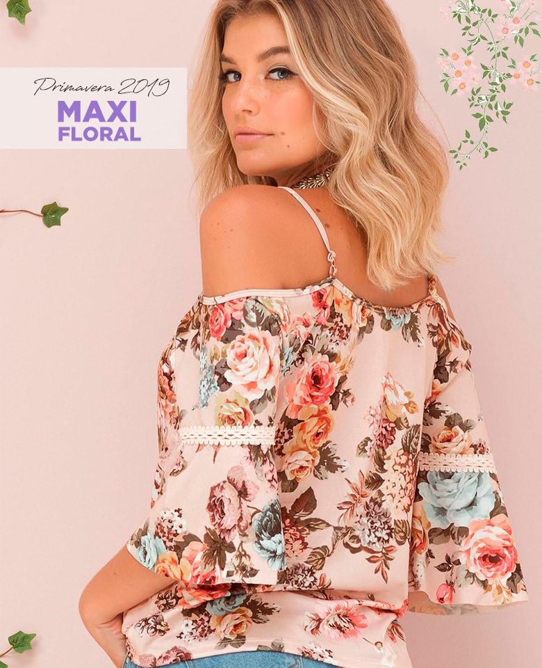 a37f172693 Blusa maxi floral de ombro vazado – COMPRAR AGORA!
