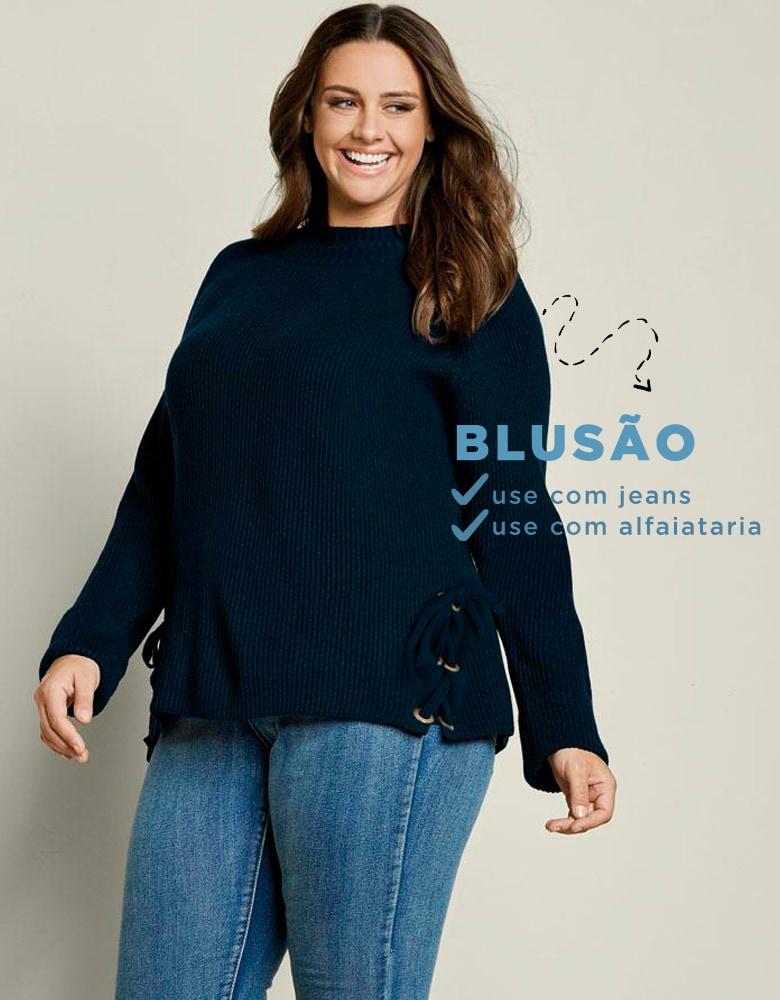 5cfa653e5 ... com a moda plus size estão fazendo o maior sucesso. Calça jeans é uma  ótima combinação